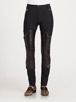 3.1 Phillip Lim - Wader Leather-Panel Skinny Pants