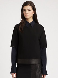 3.1 Phillip Lim - Boxy Leather-Trim Tee