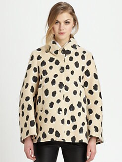 Acne - Edith Lynx-Print Wool Coat