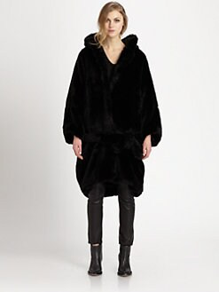 Acne - Faux Fur Hooded Oversized Coat