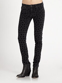 Acne - Skin 5 Skinny Jeans/Black Lynx Print