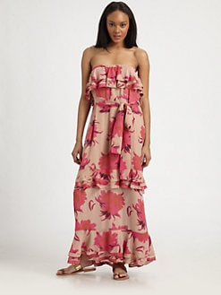 By Malene Birger - Feeling Bloom Silk Strapless Dress