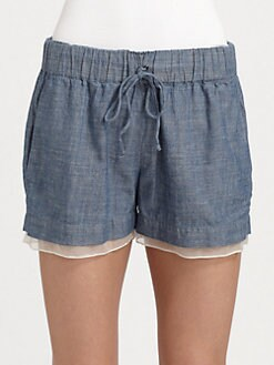 Elizabeth and James - Jake Silk-Trim Drawstring Shorts