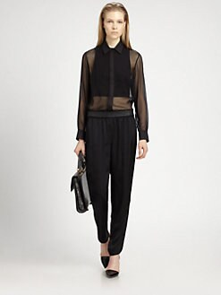 Alexander Wang - Double-Layer Silk Chiffon Top