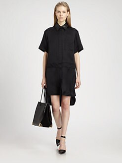 Alexander Wang - Leather-Trim Hi-Lo Shirtdress