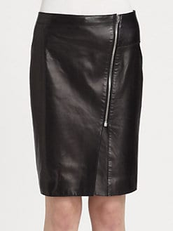 Alexander Wang - Raw-Edge Leather Pencil Skirt
