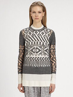 Alexander Wang - Burnout Sheer-Panel Fair Isle Sweater