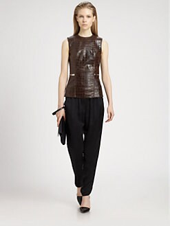 Alexander Wang - Croc-Print Leather Top