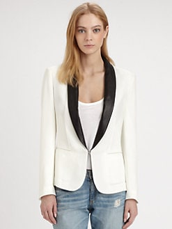 Rag & Bone - Sliver Leather-Trim Tux Blazer