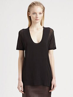 T by Alexander Wang - Sheer-Panel Scoopneck Tee