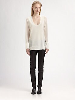 T by Alexander Wang - Sheer-Panel Long-Sleeve Tee