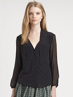 girl. by Band of Outsiders - Silk Tie-Collar Top