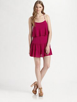 Haute Hippie - Silk Racerback Ruffle Dress
