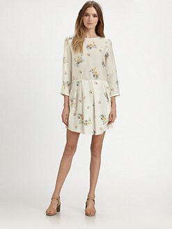 girl. by Band of Outsiders - Silk Pleated Drop-Waist Dress