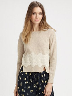 girl. by Band of Outsiders - Lace-Trim Silk Sweater