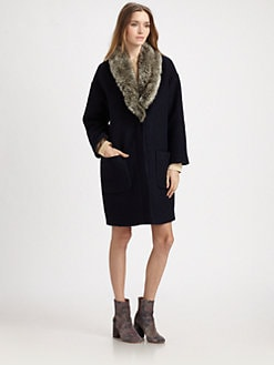 girl. by Band of Outsiders - Faux Fur-Trim Coat