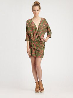 Thakoon Addition - Silk Wraparound Floral-Print Dress