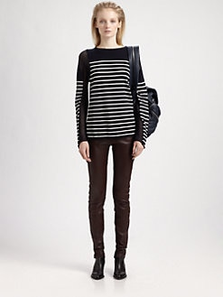 T by Alexander Wang - Striped Semi-Sheer Top