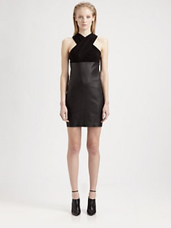 T by Alexander Wang - Criss Cross Leather & Stretch-Suede Dress