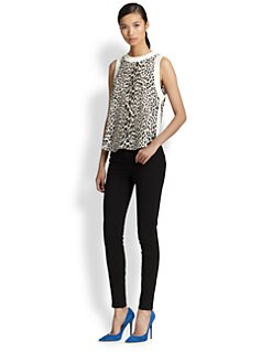 Elizabeth and James - Vivi Silk Leopard-Print Hi-Lo Tank