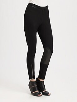 McQ Alexander McQueen - Jodphur Leather-Trim Skinny Pants