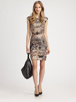 McQ Alexander McQueen - Lace-Print Cap-Sleeve Dress