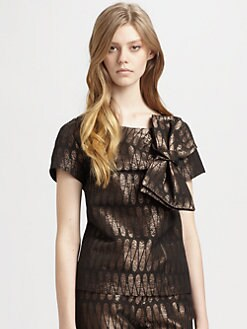 Whit - Bowie Metallic Jacquard Blouse