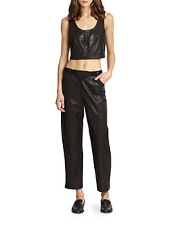 Thakoon Addition - Cropped Leather Tank Top