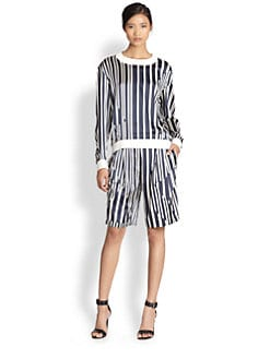 Thakoon Addition - Broken Stripe Satin Sweatshirt