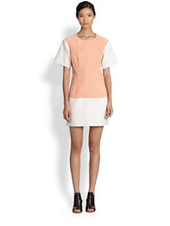 Thakoon Addition - Suede-Paneled Dress