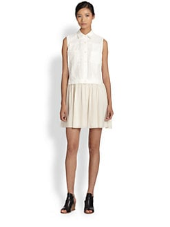 Thakoon Addition - Cotton Eyelet & Silk Dress