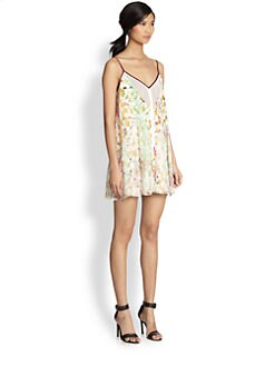 Elizabeth and James - Linda Silk Watercolor-Print Trapeze Dress