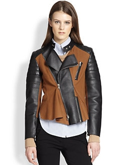 3.1 Phillip Lim - Leather & Crepe Paneled Motorcycle Jacket