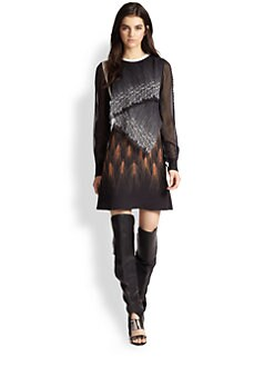 3.1 Phillip Lim - Wheat-Print Leather-Trim Silk Dress