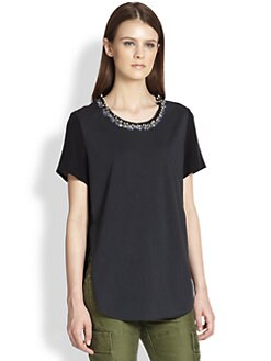 3.1 Phillip Lim - Beaded-Neck Silk & Cotton Jersey Tee