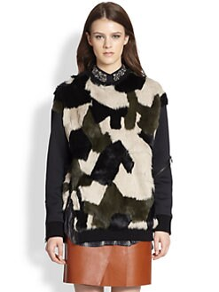 3.1 Phillip Lim - Camouflage Dyed Rabbit Fur-Paneled Sweatshirt