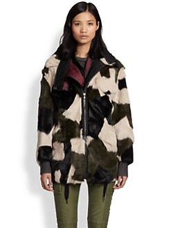 3.1 Phillip Lim - Patchwork Rabbit Fur & Leather Parka