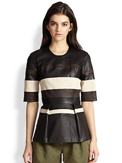 3.1 Phillip Lim - Striped Leather Peplum Top