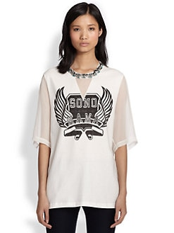 3.1 Phillip Lim - Sono Mama Beaded Silk-Panel Tee