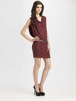 Haute Hippie - Cowlneck Micro Beaded Silk Dress