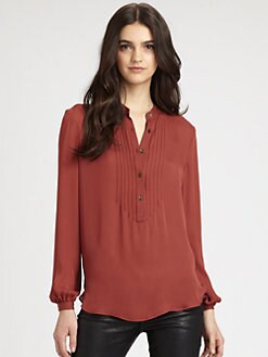 Haute Hippie - Long-Sleeve Henley Blouse