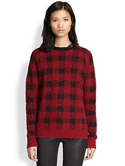 3.1 Phillip Lim - Leather-Trim Wool & Cashmere Combo Top