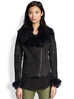 3.1 Phillip Lim - Rabbit Fur-Trimmed Suede Motorcycle Jacket