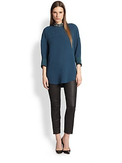 3.1 Phillip Lim - Beaded-Collar Dolman-Sleeved Crepe Tunic