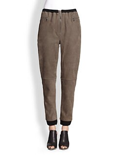 3.1 Phillip Lim - Suede Cropped Track Pants