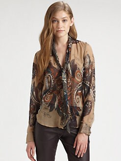 L'AGENCE - Silk Paisley Tie-Neck Blouse