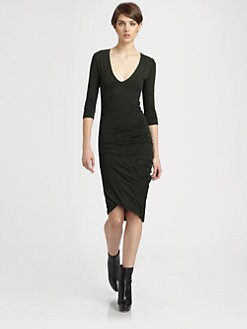 McQ Alexander McQueen - Three-Quarter Sleeve Fitted V-Neck Dress