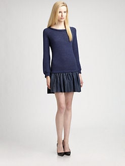 Thakoon Addition - Leather-Trim Sweater Dress