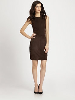 L'AGENCE - Seamed Stretch-Suede Sheath Dress