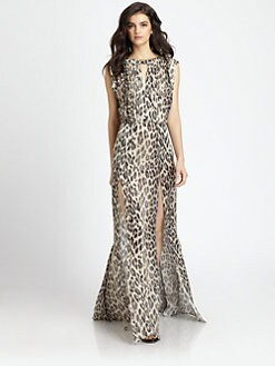 L'AGENCE - Printed High-Slit Keyhole Dress